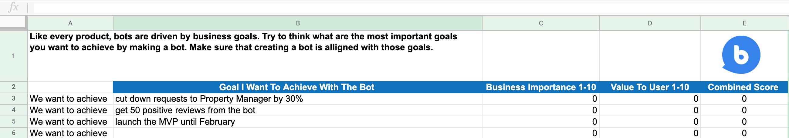 chatbot goals template