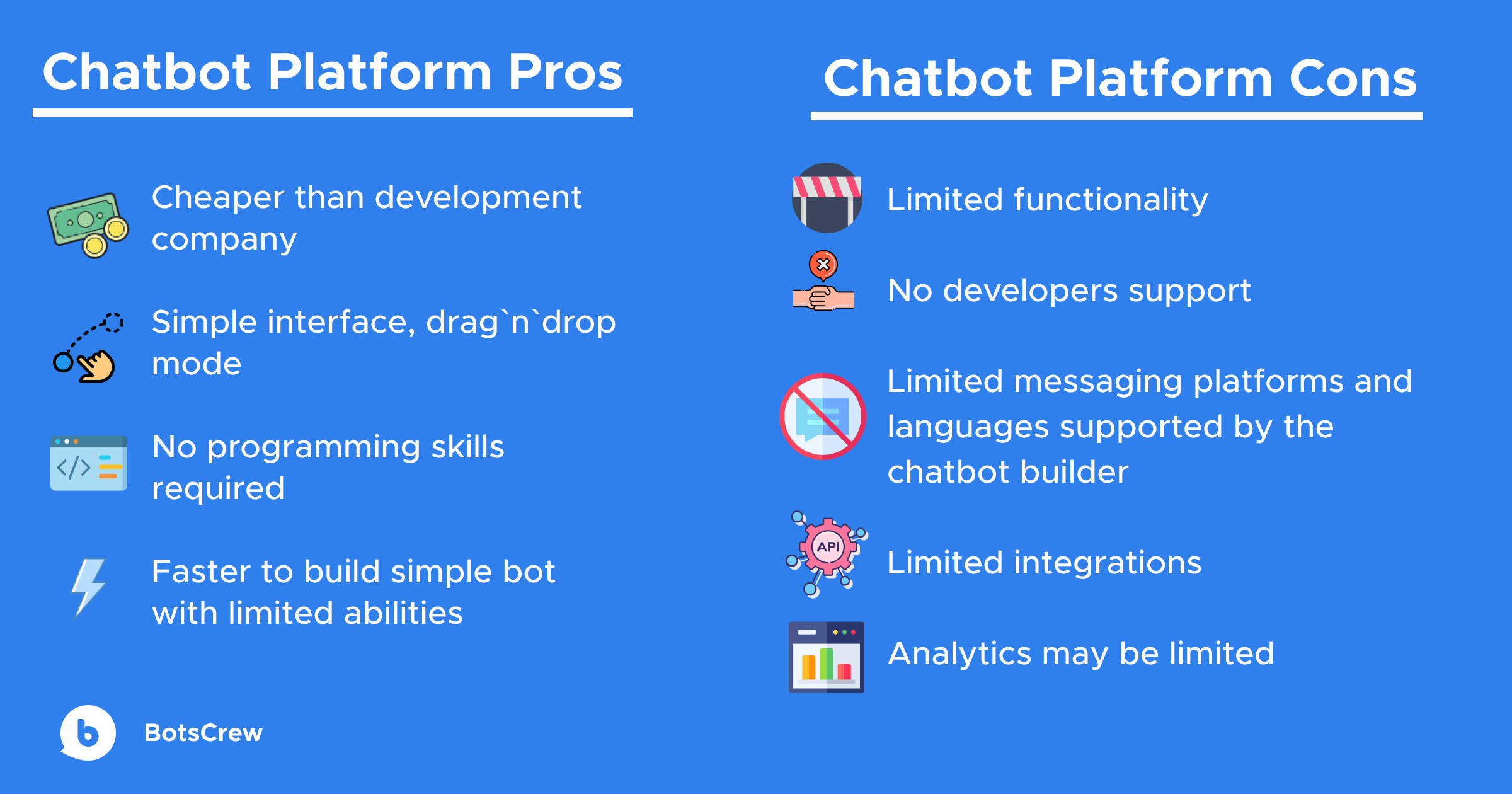 chatbot platfrom pros and cons