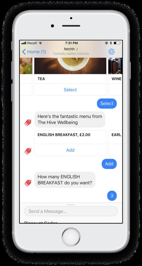 ordering via chatbot